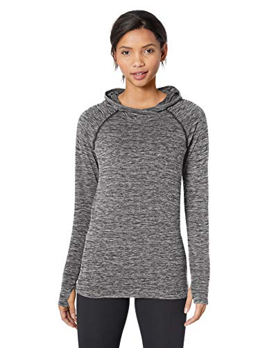 Amazon Essentials Women's Brushed Tech Stretch Popover Hoodie, Dark Grey Space dye, Medium