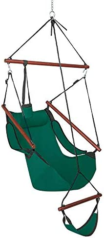ONCLOUD Upgraded Unique Hammock Sky Chair, Air Deluxe Hanging Swing Seat with Rope Through The Bars Safer Relax with Drink Holder Fuller Pillow Solid Wood Indoor Outdoor Patio Yard 250LBS Green