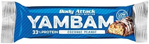 Restposten Body Attack YAMBAM Protein BAR TRAY, 15 x 80 g (Coconut Peanut)