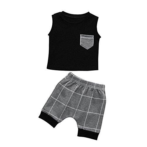 Ropa Niños Enrejado Gris Cortos Conjunto Camiseta Jipai de TM Verano Algodón 2PC Pantalones a Bebé vqgTpgw