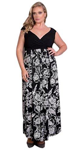 Swing Jaycargogo Women Size 1 Print Neck Dresses Long Floral Stylish Over Sleeved V Stitching PCw6ndCqr