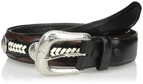 [Nocona Men's Hired Black Lace Circle, 34] (Western Leather Concho Belt)