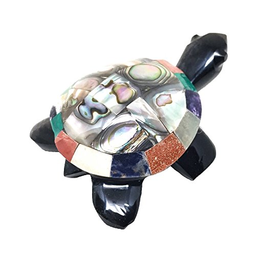 Nelson Creations, LLC Turtle Natural Obsidian Multi Gemstone Animal Carving Charm Totem Figurine, 2.5 Inch
