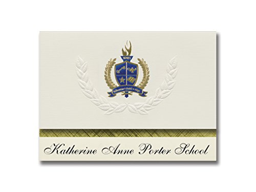 Signature Announcements Katherine Anne Porter School (Wimberley, TX) Graduation Announcements, Presidential style, Elite package of 25 with Gold & Blue Metallic Foil seal (Wimberley Tx)