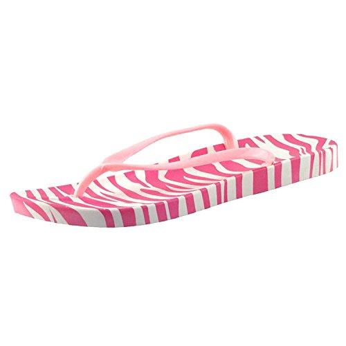 Chfso Kvinners Trendy Zebra Print Thong Sandaler Flat Strand Flip Flops Red