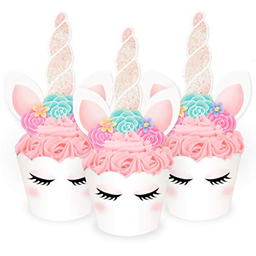 xo, Fetti Unicorn Cupcake Toppers + Wrappers - Set of 24 | Birthday Party Supplies, Unicorn Horn Cake Decoration + Baby Shower -