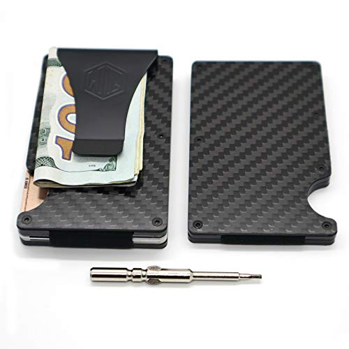 Carbon Fiber Wallet Money Clip by WidelyQuality RFID Minimalist Slim CardHolder