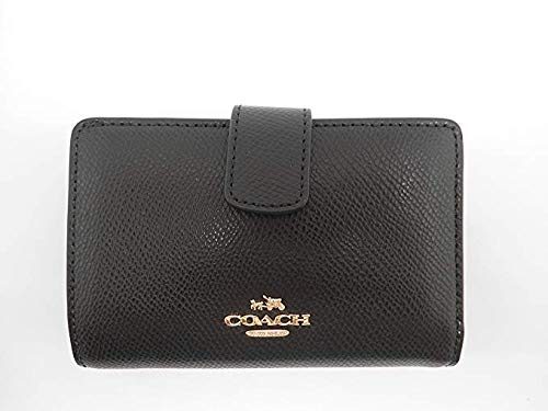Coach F53436 Cross Grain Leather Medium Corner Zip Wallet and Coin Purse, Black ()