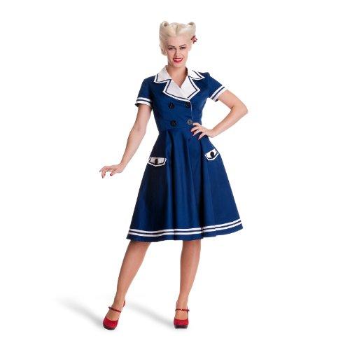 Tiger Milly - Robe Femme Hell Bunny Années 1950 Style Marin Matelot Bleu Marine - Bleu, 42 (L)