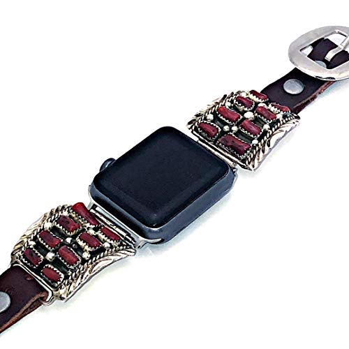 Timberline Traders Genuine Red Coral Apple Watch Replacement Band, 925 Sterling Silver and Leather, Signed and Hallmarked Authentic Navajo Native American, Handmade in the USA, 38, 40, 42 mm