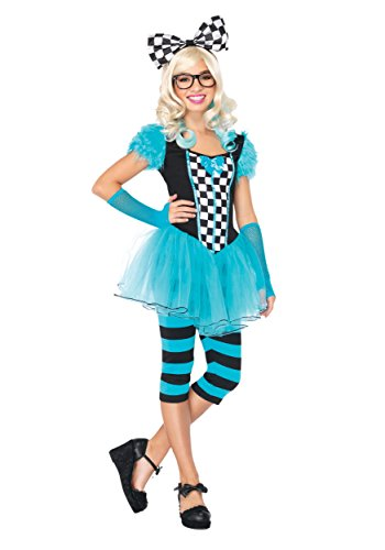 Leg Avenue Women's 4 Piece Hipster Alice, Blue, (Halloween Costumes Hipster)