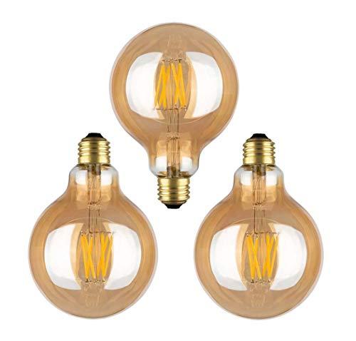 E27 Edison Light Bulb,Retro Filament Light Bulb/Dragon Ball, G95 Brown LED Light, Yellow Light 110V- 220V [Energy Class A+]