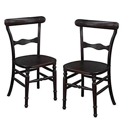 Adeco Dark Brown Elmwood Dining Chair With Early American Style Leg And  Curved Horizontal Fiddle Back