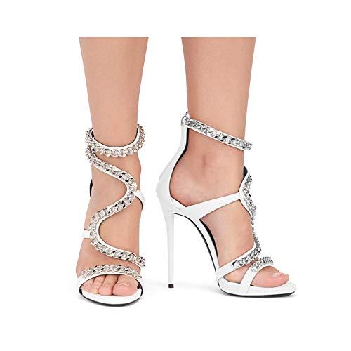 Lz donne Sandali 43 spillo a scarpe rosso tacco di tacco per bianco alto con le OqOwrv8z