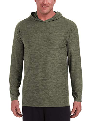 Amazon Essentials Men's Tech Stretch Long-Sleeve Pullover Hoodie, Olive Space Dye, 3XLT (Pullover Hoodie Mens Thermal)