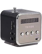 Mini Portable FM Radio Speaker, Digital Stereo MP3 MP4 Music Player Support TF Card USB Disk FM (黑色)