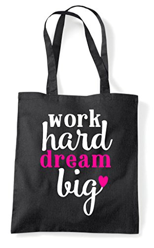 Bag Work Dream Big Shopper Motivational Statement Tote Black Hard q1YRqz