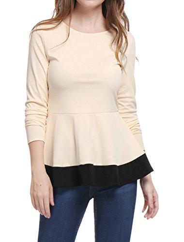 55f67be3f20e4f Allegra Women Sleeves Contrast Peplum. Review - Allegra K Women Long Sleeves  Contrast Color Round Neck Peplum Top