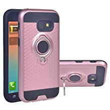COOLKE Dual Layer Shockproof TPU Silicone + PC Hard Back shell Rotating Ring Grip Holder Kickstand with Back Magnetic Circle Protective Case Cover for Samsung Galaxy A5 (2017) - Rose Gold