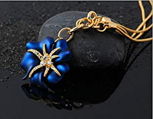 Women's gift 18K gold plated flower Crystal jewelry sets 2 pieces necklace earrings blue DGV11