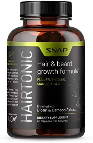 Hair and Beard Growth for Men - Formula for Hair Skin and Nails - Hair Loss Supplement with Biotin, Keratin, Bamboo - 60 Capsules
