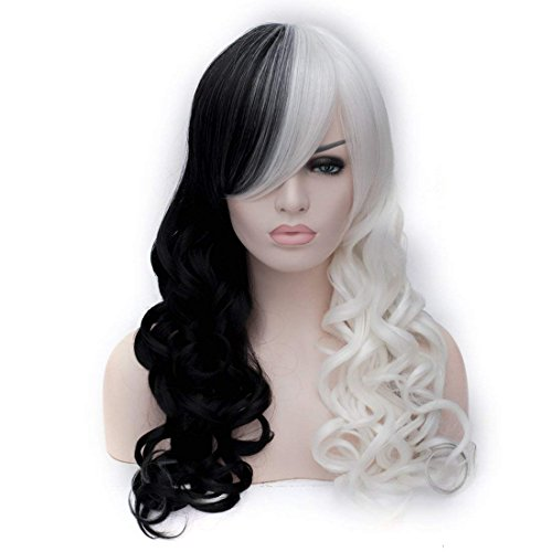 White Black Mix Long Curly Cosplay Wig Halloween Wig US Stock
