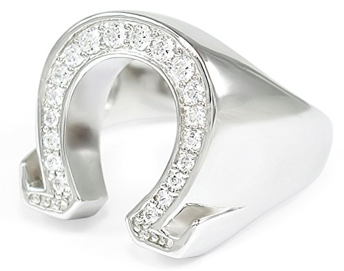 Omega Sterling Silver Letter Ring with CZs (4 Czs Sterling Silver Ring)