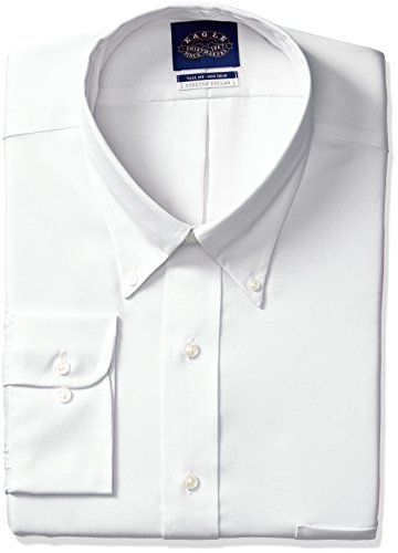 Eagle Men's Tall Size Non Iron Stretch Collar Solid Buttondown Collar Dress Shirt, White, 19
