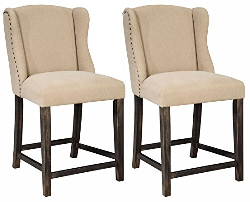 nature Design - Moriann Counter Height Barstool - Set of 2 - Vintage Casual - Light Beige (Contour Upholstered Stools)