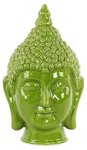 Urban Trend 34438-UT Ceramic Buddha Head with Pointed Ushnisha Gloss Finish Green by Urban Trend