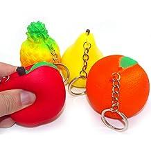 4PCS Set Slow Rising Squishy Fruit Model Pear Apple Orange Pineapple Handbag Pendant Keychain Kids Girls Squeeze Stress Relief Soft Toy