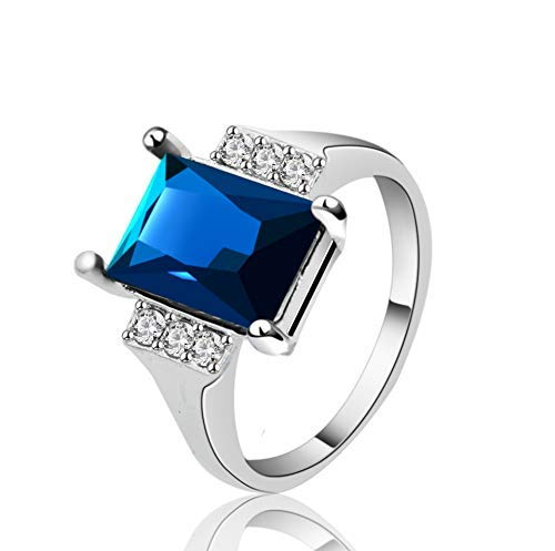 (Yuren 925 Sterling Silver Blue Sapphire Crystal Ring Women's 10Kt White Gold Filled Wedding Topaz Promise Princess Cut Gemstone Ring(Size6-10) (US Code 10))
