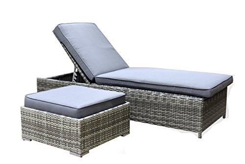 Elle Decor Vallauris Outdoor Chaise & Ottoman Set, Gray (Wicker Daybed Sale)