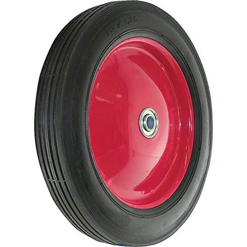 1 Pc, Shepherd 10'' Black Rubber Wheel, 60 Lb, 1/2'' Arbor, Ribbed Tread