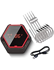 Inkbird Wireless Grill Thermometer 6 Probe IBT-6XS For Smokers, With Rechargeable Battery, Digital Oven BBQ Thermometer, Timer And Alarm