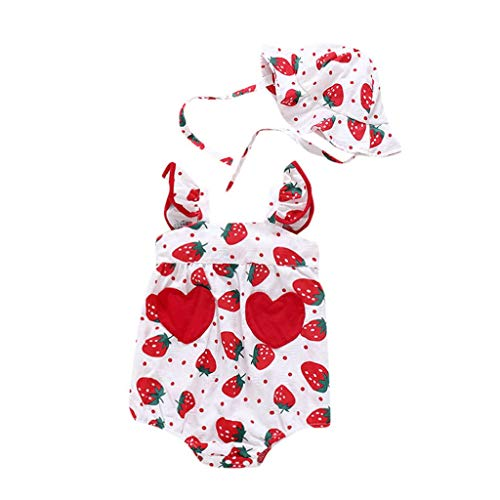 Ariestorm 2Pcs Newborn Infant Baby Girls Straps Fruit Print Romper Sunsuit Hat Summer Bodysuit Red