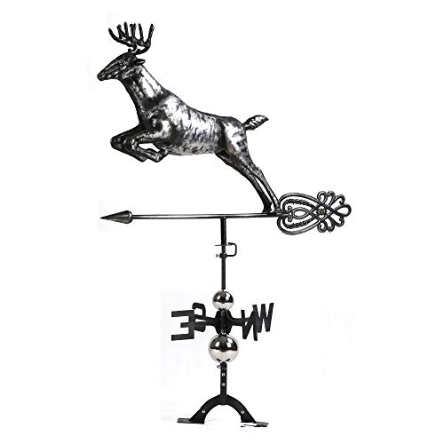 (BYNBBUR White Tail Deer Weather Vane,Hand-Made Crafted,Aged Matte Black Finish,3D Stainless Steel Ornaments)