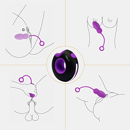 Odeco USB Rechargeable Wireless Remote Control Vibrating Silicone Bullet Egg LED Light 7-Frequency Pleasure Adult Sex Toys Vibe for Women or Couples (Purple+Black)