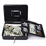 CK Wind Large Cash Box with Lock - Premium Steel Box with Money Tray and 2 Keys, Black