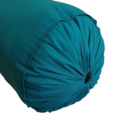 Teal Blue Bolster Pillowcase - Yoga Massage Round Bolster Cover for Bed Sofa Chair Couch Lounge Cotton 8