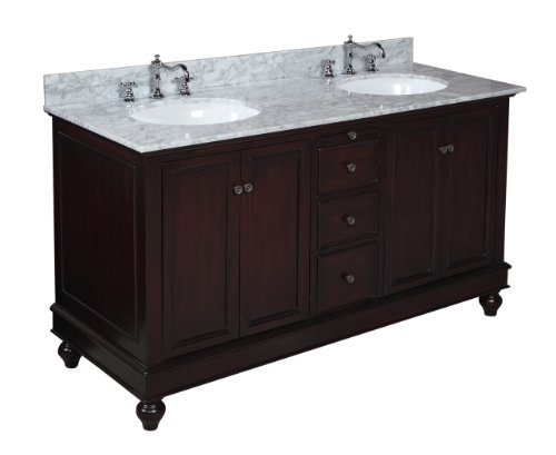 Kitchen Bath Collection KBC622CARR Bella Double Sink Bathroom Vanity with Marble Countertop, Cabinet with Soft Close Function and Undermount Ceramic Sink, Carrara/Chocolate, 60