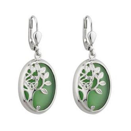 Solvar Irish Jewellery - Tree of Life Drop Earrings Rhodium Green Irish Made
