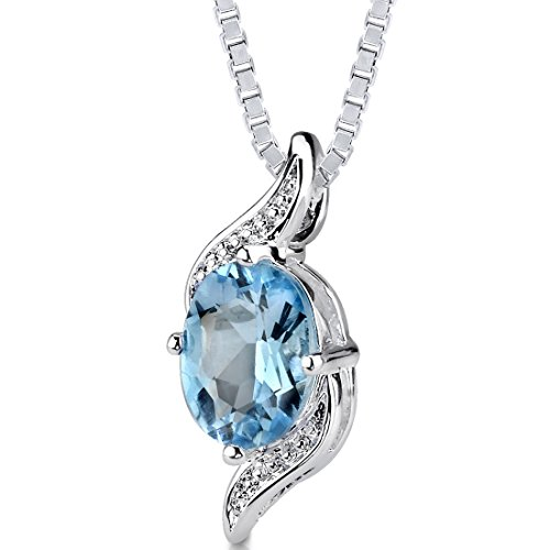 1.50 cts Oval Cut Swiss Blue Topaz Pendant in Sterling Silver Rhodium Nickel Finish