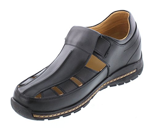 TOTO V12131-2.8 inches Taller - Height Increasing Elevator Shoes (Black Fisherman Sandals) WnydrE