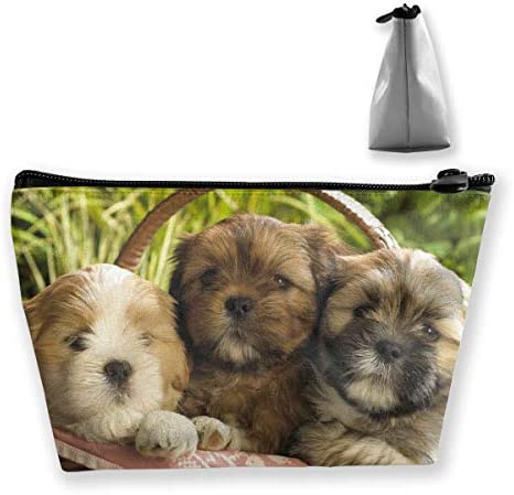Lhasa Apso Puppies Multifunctional Bucket Toiletry Bag Cases Bathroom Storage Carry Cases Toiletry