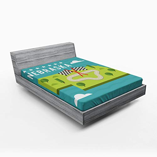 Ambesonne Nebraska Fitted Sheet, Map of Nebraska State Flags Road and Green Trees American Landmark, Soft Decorative Fabric Bedding All-Round Elastic Pocket, Queen Size, Turquoise and Multicolor
