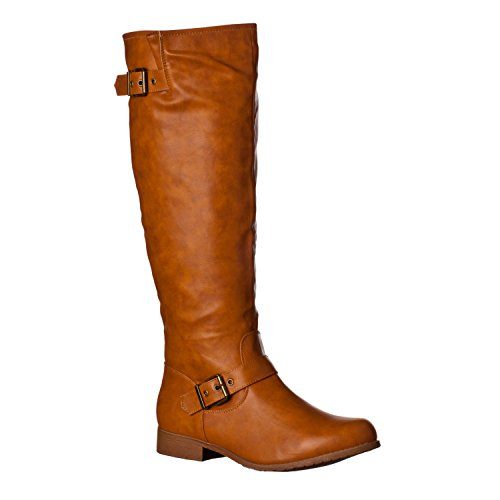 Riverberry Women's 'Mia-01' Smooth Knee-High Low Heel Riding Boots, Saddle, 6.5