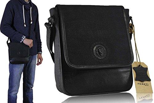 con en autentica negro tela con de bandolera hombre bolso 3D combinado león piel para FERETI qOPwIXZ0c