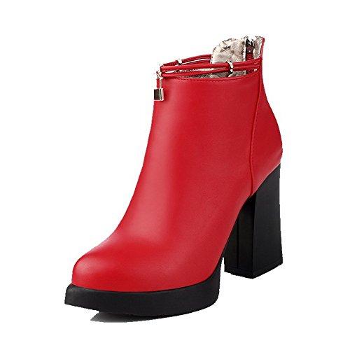 AllhqFashion Damen Niedrig-Spitze Weiches Material Hoher Absatz Spitz Zehe Stiefel, Rot, 40