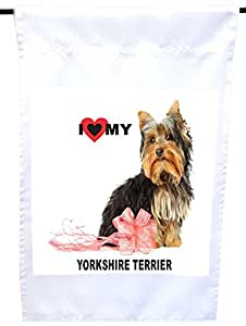 Rikki Knight I Love My Pink Bow Yorkshire Terrier Dog House or Garden Flag, 12 x 18-Inch Flag Size with 11 x 11-Inch Image